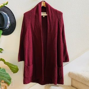 LUCKY BRAND burgundy open front sweater coat M